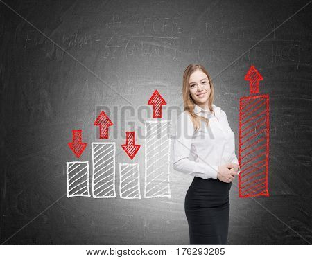Smiling Woman And Red And White Graphs