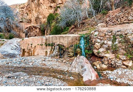 Waterfall at Ait Ibrirn in Dades Gorge valley - Morocco