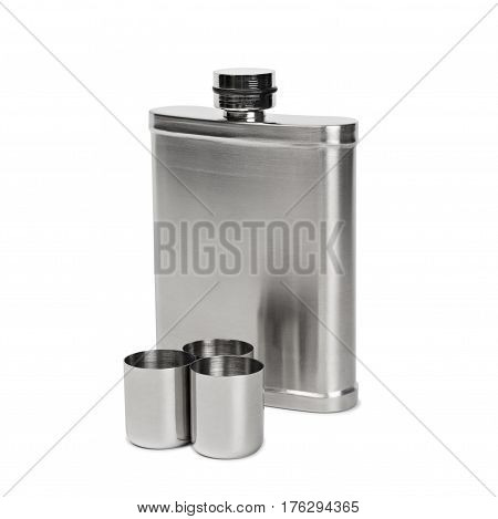 Hip flask and cups with white background with clipped path