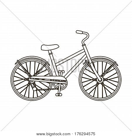 Rural women s bicycle. The vehicle of a healthy lifestyle.Different Bicycle single icon in outline style vector symbol stock web illustration.