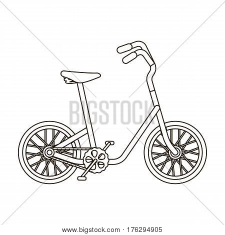 Little yellow children s bicycle. Bicycles for children and a healthy lifestyle.Different Bicycle single icon in outline style vector symbol stock web illustration.