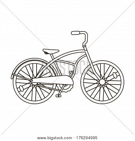 Blue two-wheeled bicycle for a ride through the city. Pleasure of transport.Different Bicycle single icon in outline style vector symbol stock web illustration.