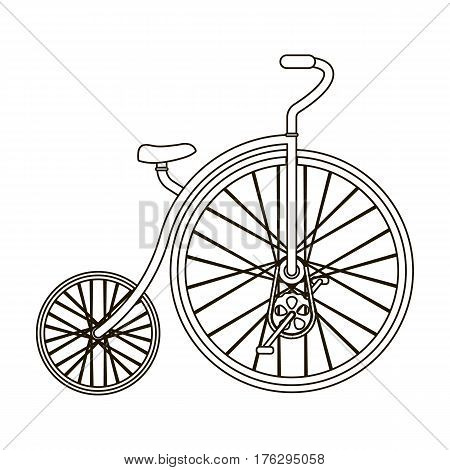 Vintage bicycle. The first bicycle. Huge and small wheel.Different Bicycle single icon in outline style vector symbol stock web illustration.