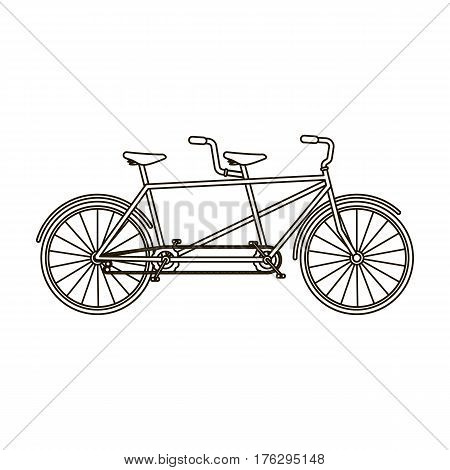 Tandem bike.Pleasure bicycle for two. Double bicycle. The ecological mode of transport.Different Bicycle single icon in outline style vector symbol stock web illustration.