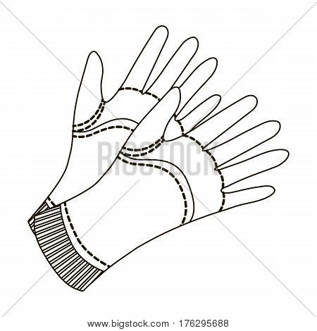 Garden gloves to work with the land in the garden. Protective gardener clothing.Farm and gardening single icon in outline style vector symbol stock web illustration.