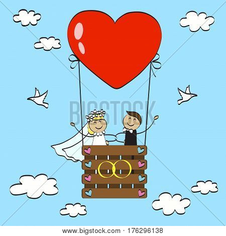 Happy newlyweds fly in a hot air balloon