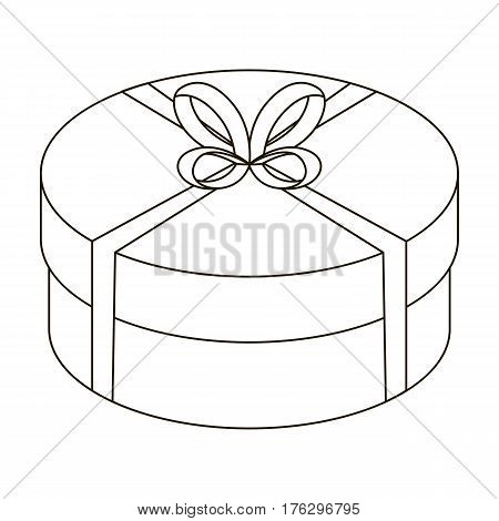 Round green gift with a red ribbon. A box for a cake.Gifts and Certificates single icon in outline style vector symbol stock web illustration.