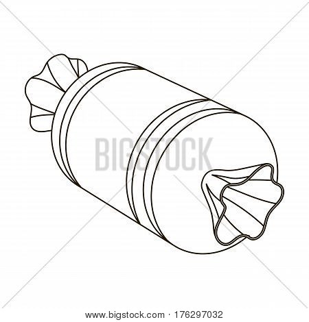 Gift wrap in the form of a huge candy in a wrapper.Gifts and Certificates single icon in outline style vector symbol stock web illustration.