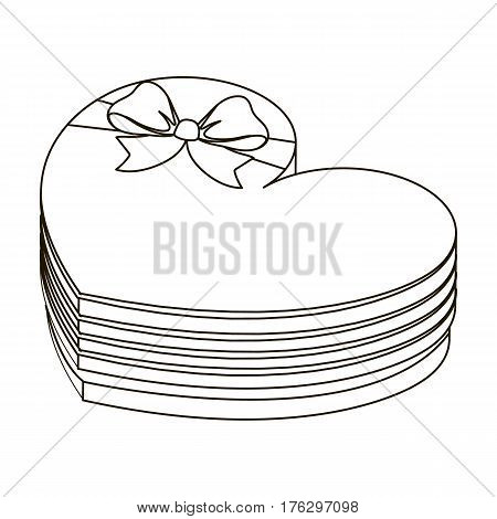 A box in the form of a red heart. A gift to a loved one.Gifts and Certificates single icon in outline style vector symbol stock web illustration.