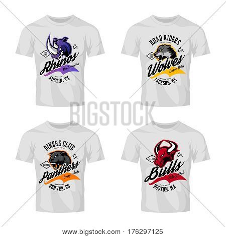 Vintage American furious bull, wolf, panther, rhino bikers club tee print vector design isolated on white t-shirt mockup. Street wear t-shirt emblem. Premium quality wild animal superior logo concept illustration.