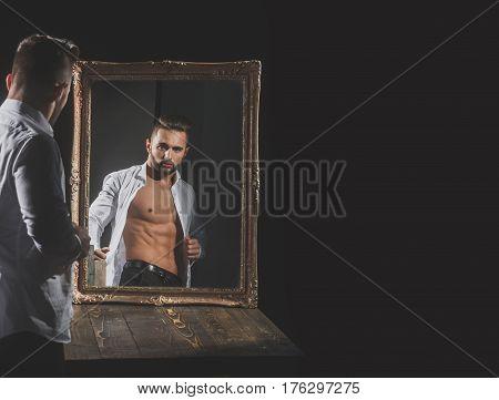 Muscular Macho Man With Sexy Athlete Body Near Vintage Mirror