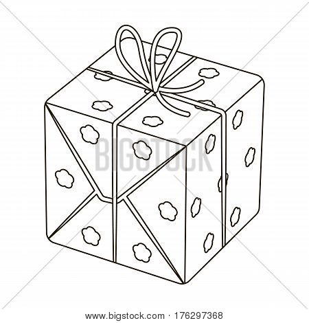 Red box in white peas. Wrapped in a rope with a bow.Gifts and Certificates single icon in outline style vector symbol stock web illustration.