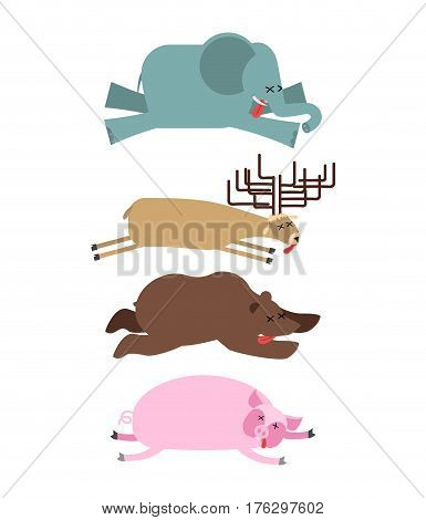 Dead Animals Set 2. Elephant And Deer. Bear And Pig. Animal Is Death. Corpse Of Beast