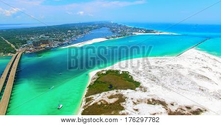 Destin. Redneck Beach. Florida. Panama City. Bridge Aerial View. Eglin Beach Park