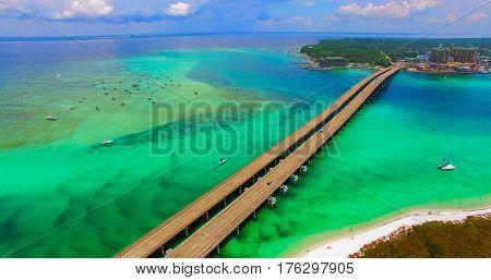 Destin. Redneck Beach. Florida. Panama City. Bridge Aerial View. Eglin Beach Park