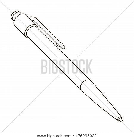 Ball pen. A school pen for writing. Outfit schoolboy.School And Education single icon in outline style vector symbol stock web illustration.
