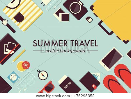 Summer travel flat vector background. Set of travel equipment: suitcase / trunk, glasses, watches, passport, phone, player, headphones, purse, camera, adapter, compass, notebook, photos, t-shirt.