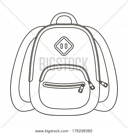 Blue school bag. A school bag for a book and notebooks.School And Education single icon in outline style vector symbol stock web illustration.