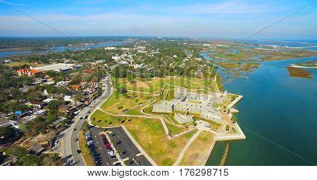 Castillo de San Marcos. Florida. Augustine. USA. Aerial view.