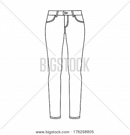 Green skinny pants for women. Women s clothes for a walk.Women clothing single icon in outline style vector symbol stock web illustration.