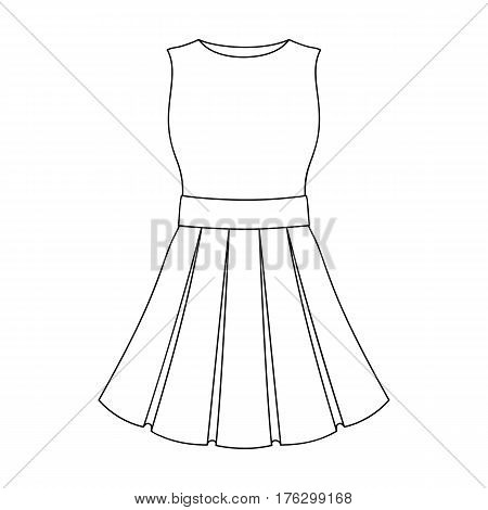 Beautiful light pink summer dress without sleeves. Clothing for a hike to the beach.Women clothing single icon in outline style vector symbol stock web illustration.