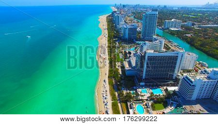 Miami Beach. South Beach. Aerial view. Florida. Atlantic Ocean.