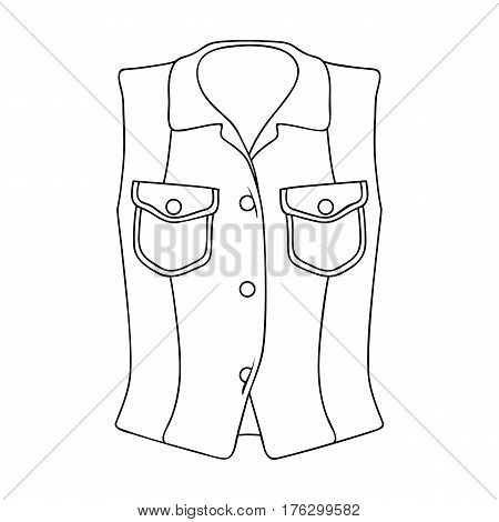 Women Sleeveless Sports Jacket .Beige button-down shirt without sleeves for the girl. Sport dress style.Women clothing single icon in outline style vector symbol stock web illustration.