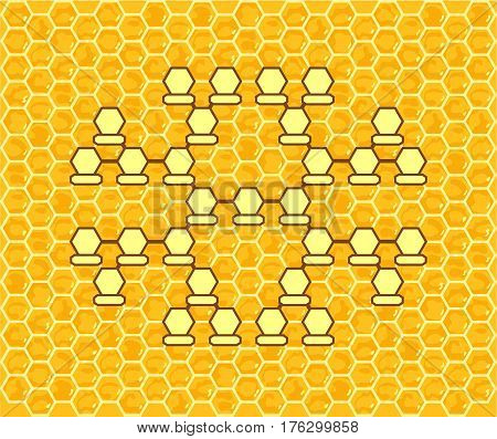 Cellular Family Tree. Genus tree on the background of honeycombs.