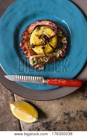 Grilled Seafood Octopus on Saffron Risotto with Brown Shimeji Mushrooms
