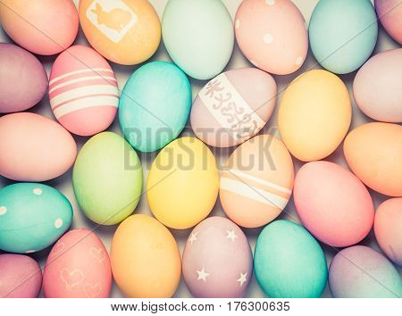 Colorful Easter Eggs background with subtle antique vintage toning effect.