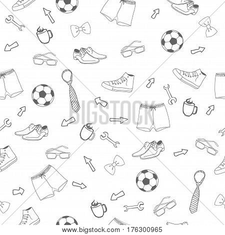 White and black  seamless man way of life vector pattern background. Father's Day. International Men's Day