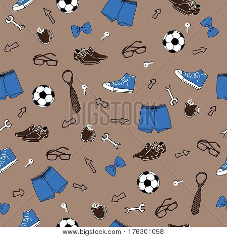 Gray male seamless vector pattern. Father's Day. International Men's Day. Defender of the Fatherland Day
