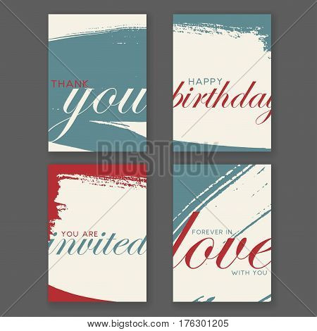 Set of cards with hand drawn textures. Thank you card, wedding invitation, birthday card and love valentines card.