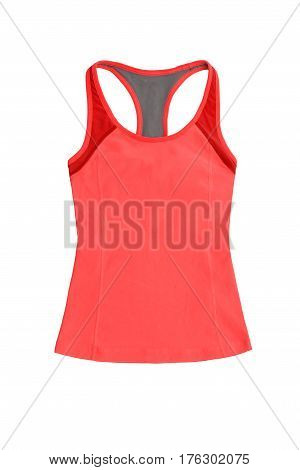 Bright Red Tanktop With Racerback, Isolated On White Background