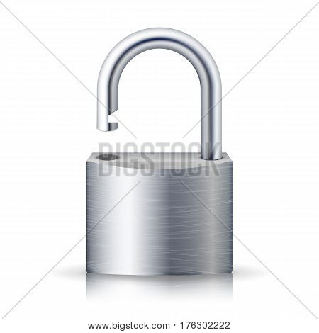 Realistic Unlocked Padlock Vector. Metal Lock For Safety Illustration. Isolated On White With Shadow