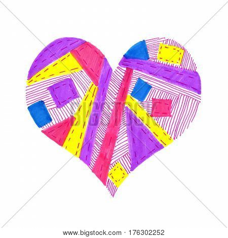 Bright color heart with abstract pattern on white background hand draw