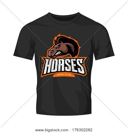 Furious horse sport club vector logo concept isolated on black t-shirt mockup. Modern professional team badge design. Premium quality wild stallion animal t-shirt tee print illustration design.