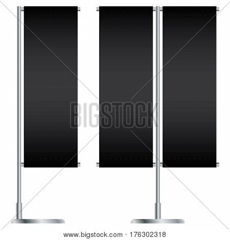 Black Outdoor Flag With Stander Advertising Banner isolated on white background.