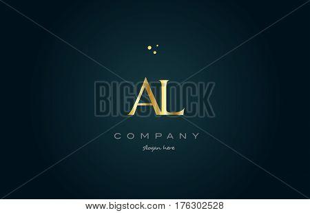 Ak A K  Gold Golden Luxury Alphabet Letter Logo Icon Template
