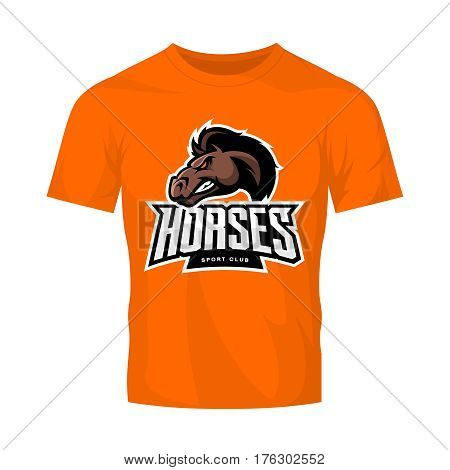 Furious horse sport club vector logo concept isolated on orange t-shirt mockup. Modern professional team badge design. Premium quality wild stallion animal t-shirt tee print illustration design.