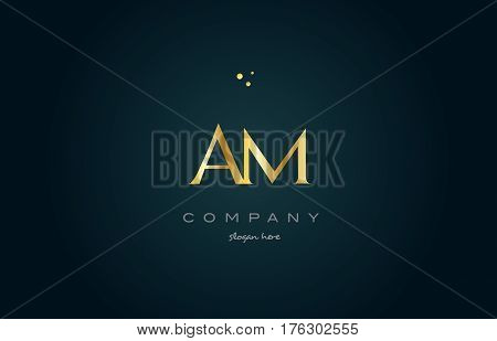Am A M  Gold Golden Luxury Alphabet Letter Logo Icon Template