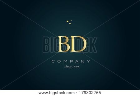 Bd B D  Gold Golden Luxury Alphabet Letter Logo Icon Template