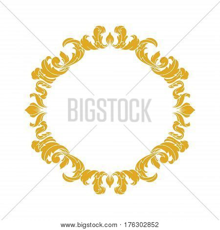 Elegant Circular Classic Decorative Floral Ornamental Vintage Swirl Acanthus Frame
