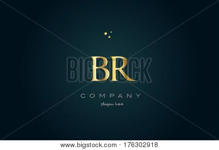 Br B R  Gold Golden Luxury Alphabet Letter Logo Icon Template