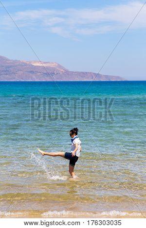 the first day of vacation girl in clothes squirted into the sea