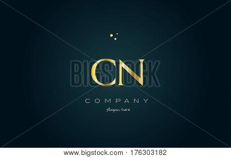 Cn C N  Gold Golden Luxury Alphabet Letter Logo Icon Template