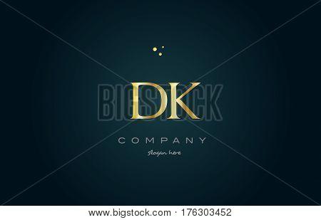 Dk D K  Gold Golden Luxury Alphabet Letter Logo Icon Template