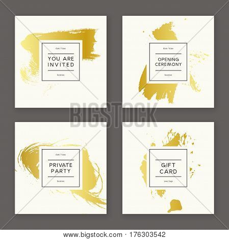 Set of creative freehand cards. Hand Drawn golden textures made with ink. Vector. Isolated.