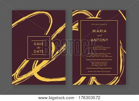 Abstract hand drawn wedding decor. Template frame for save the date and greeting card, wedding invitation, certificate, leaflet, poster. Vector border with place for text.