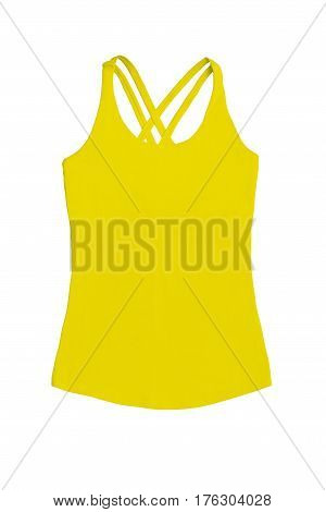 Women's Yellow Sports Top, Isolated On Whiet Background
